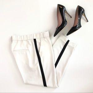 Zara white ecru black contrast stripe tuxedo pants